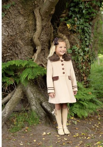 Beau Kid girls fully lined tan and brown coat and matching hat