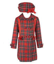 Beau Kid Girls Fully Lined Tartan Coat With Hat - Red